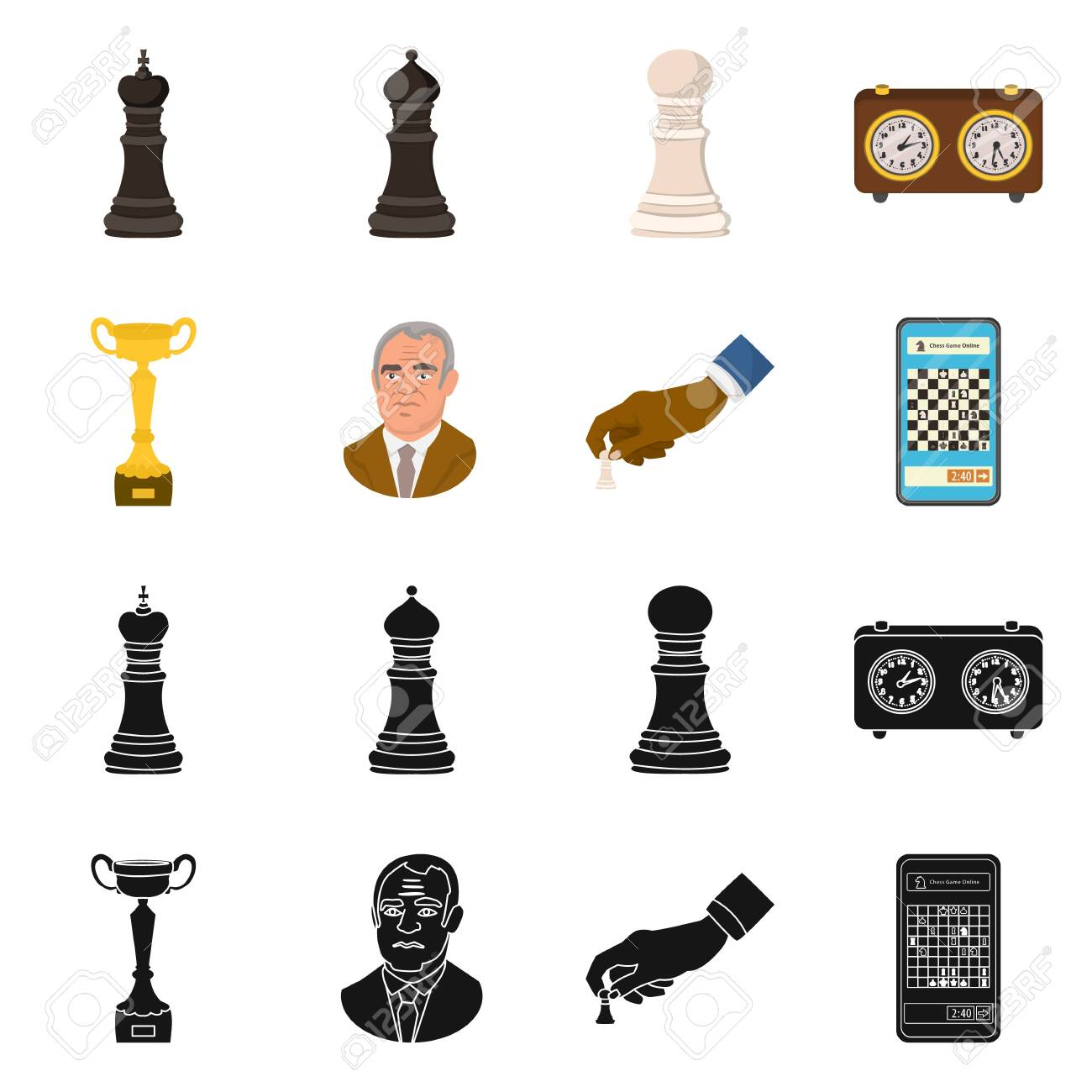 Vector design of checkmate and thin symbol. Set of checkmate and target stock vector illustration. - 143496211