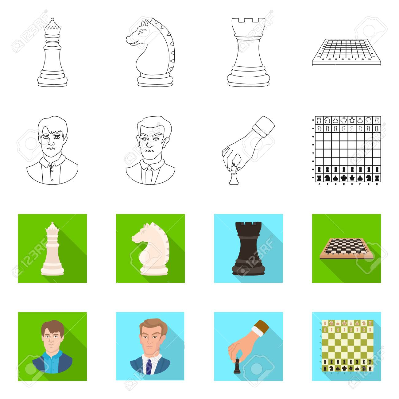 Vector illustration of checkmate and thin symbol. Set of checkmate and target stock symbol for web. - 143496351