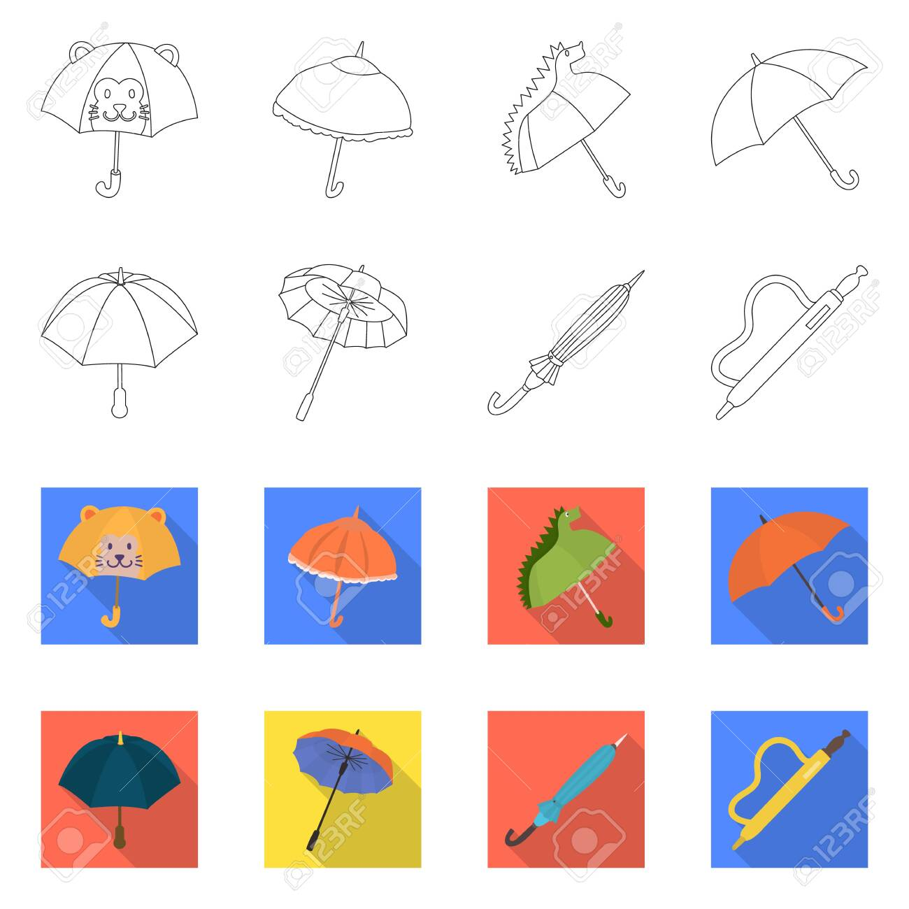 Isolated object of protection and closed . Set of protection and rainy stock symbol for web. - 143496353