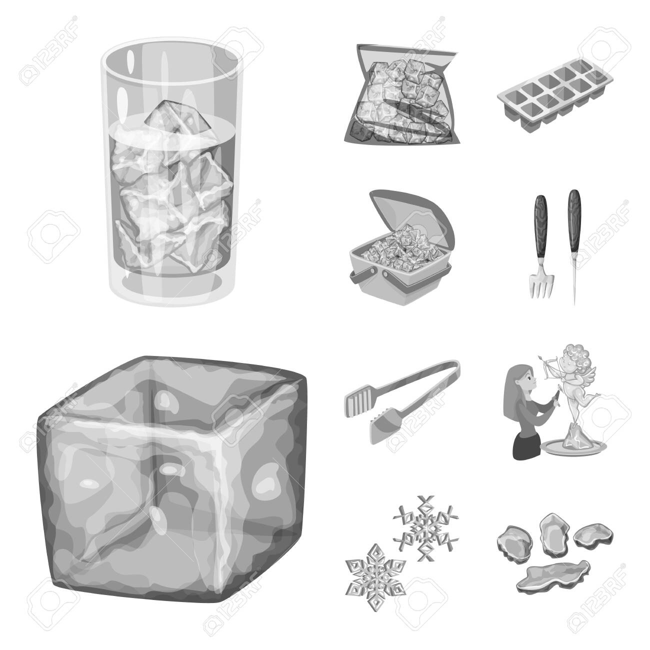 Isolated object of square and purity . Collection of square and frozen stock symbol for web. - 143496361