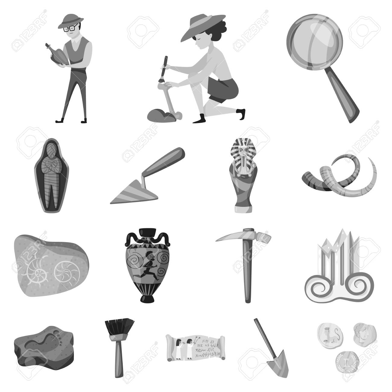 Vector illustration of story and discovery sign. Set of story and items stock symbol for web. - 143496365