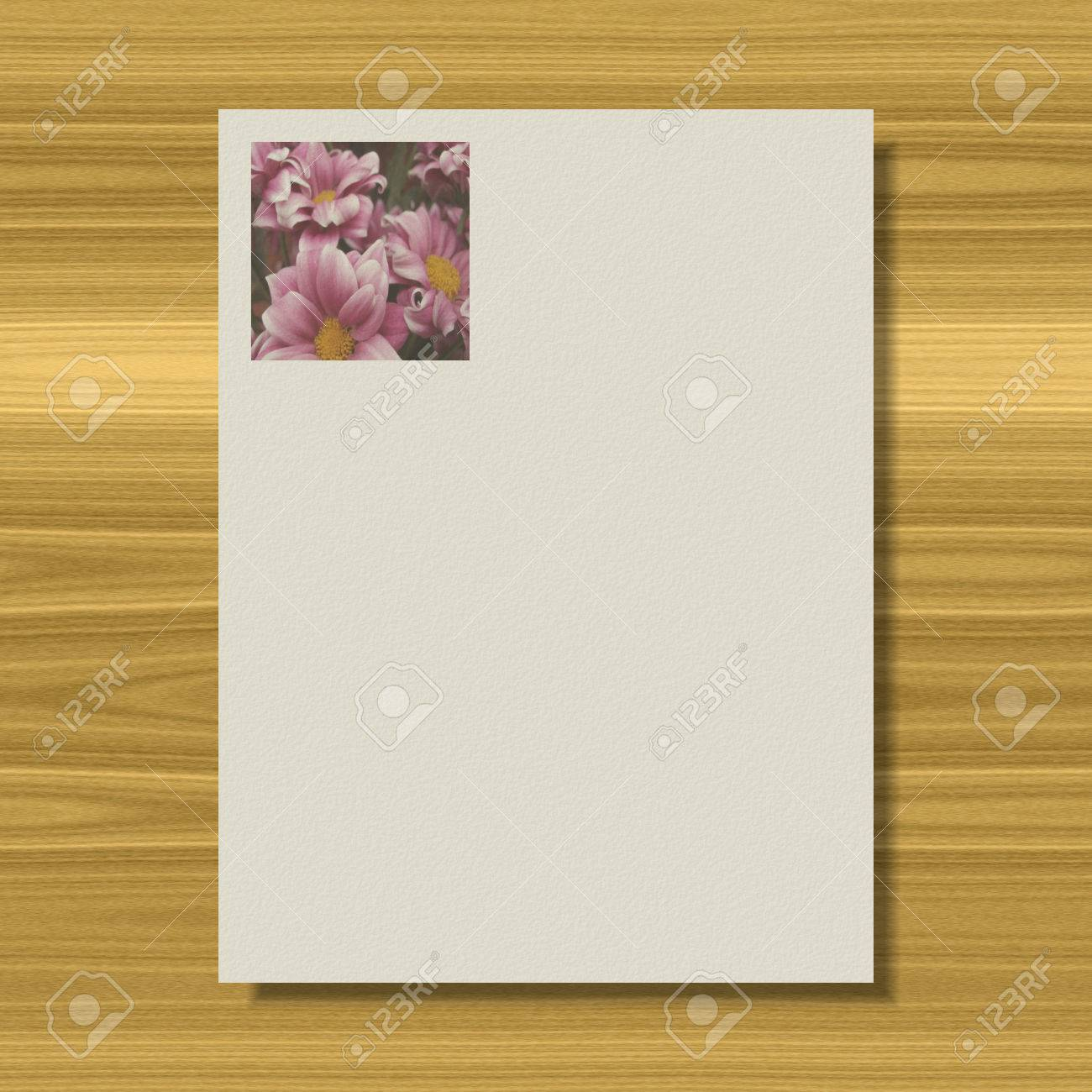 Flowers Writing Paper Texture Background Stock Photo Picture And