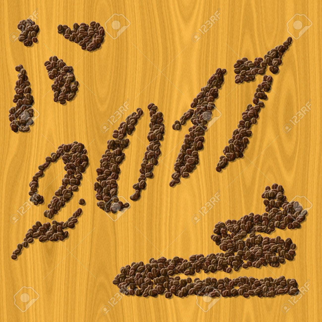 coffee new year 2017 generated texture background stock photo