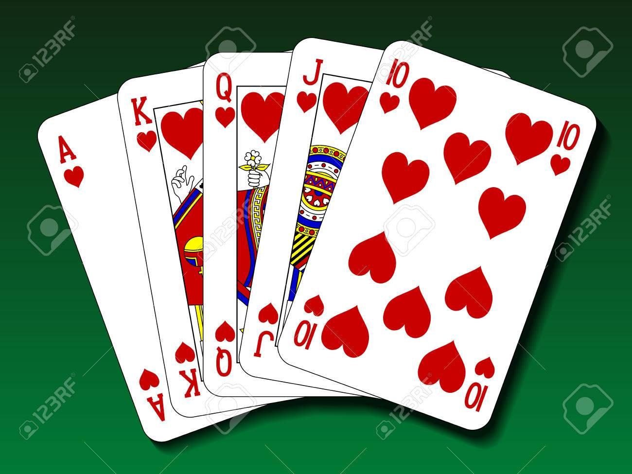 Poker hand - Royal flush heart - 45356266