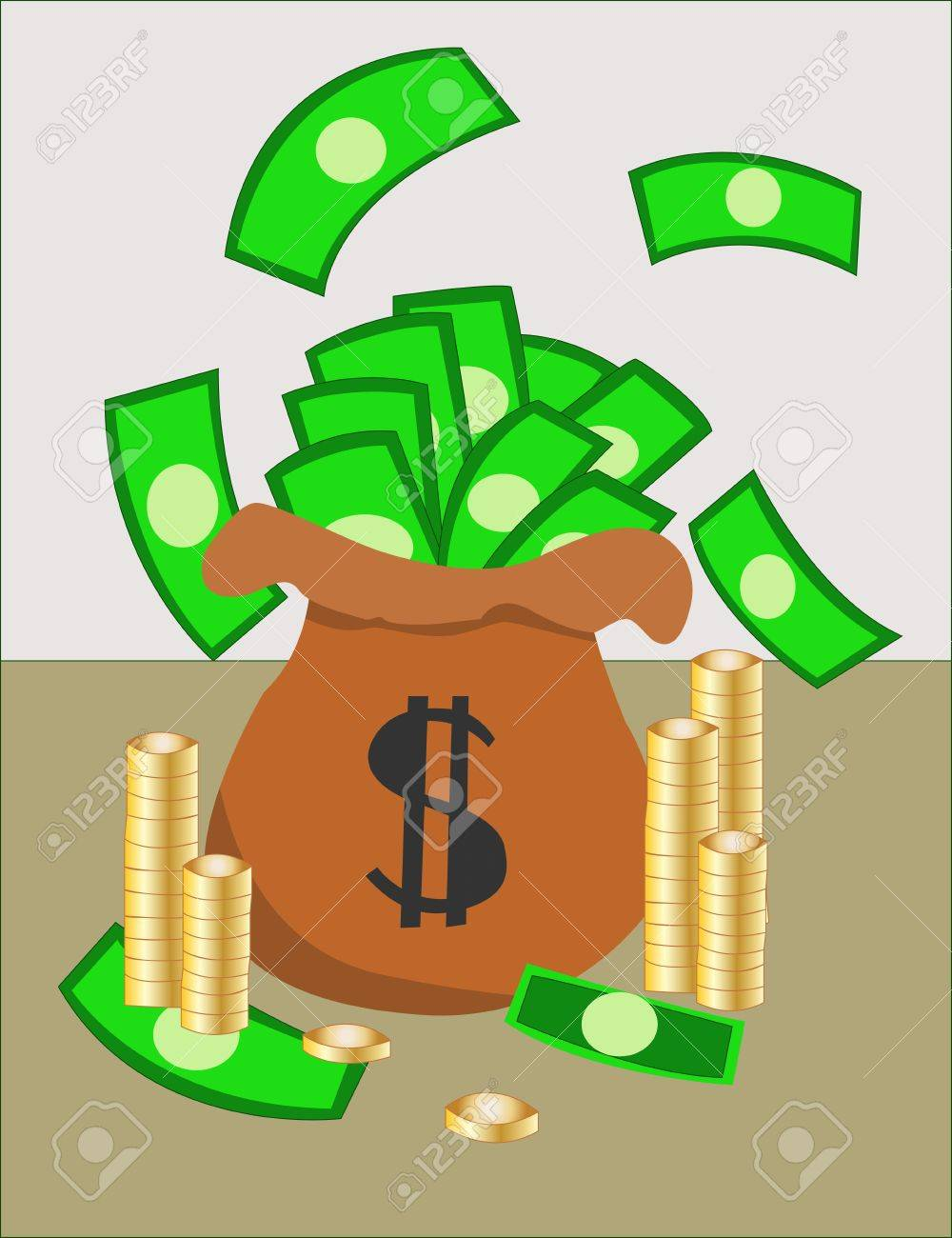 Gold and paper money in bag Stock Vector - 9549363