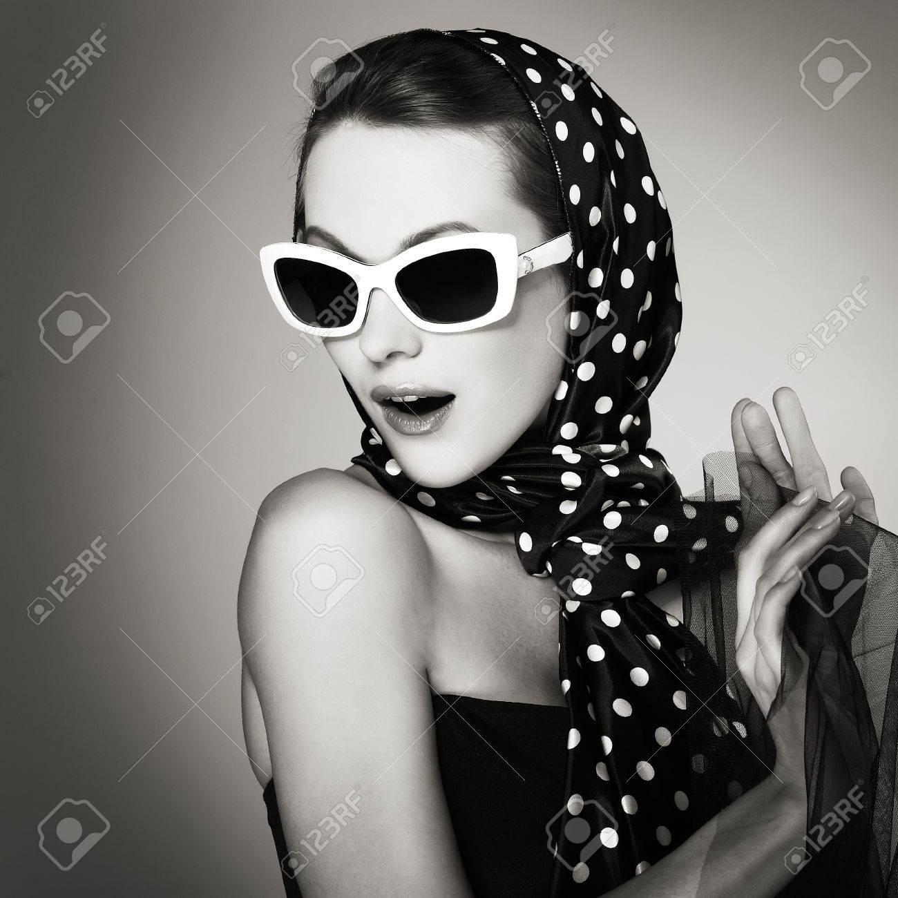 Portrait beautiful  girl in retro style Stock Photo - 10357234