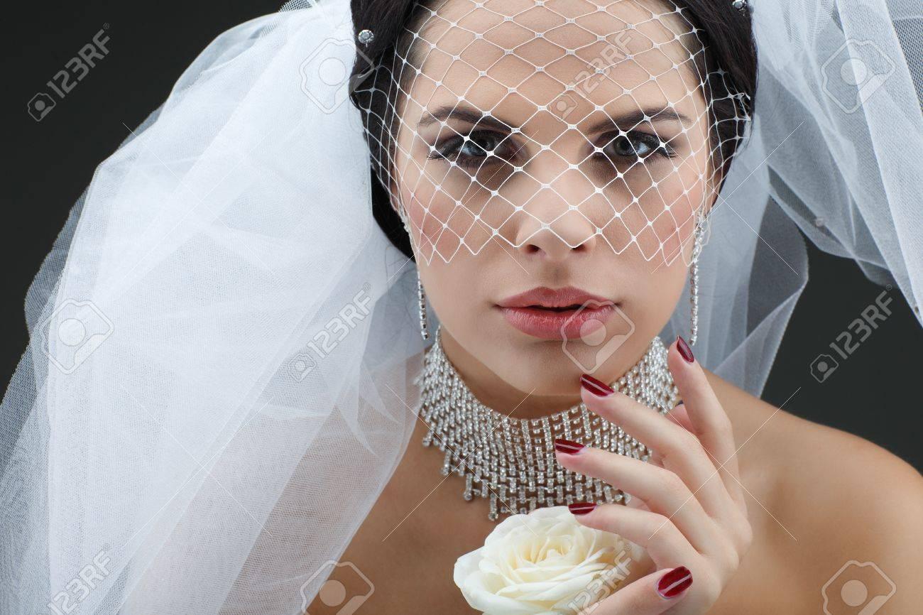 Portrait of beautiful bride. Wedding dress. Wedding decoration Stock Photo - 15309844