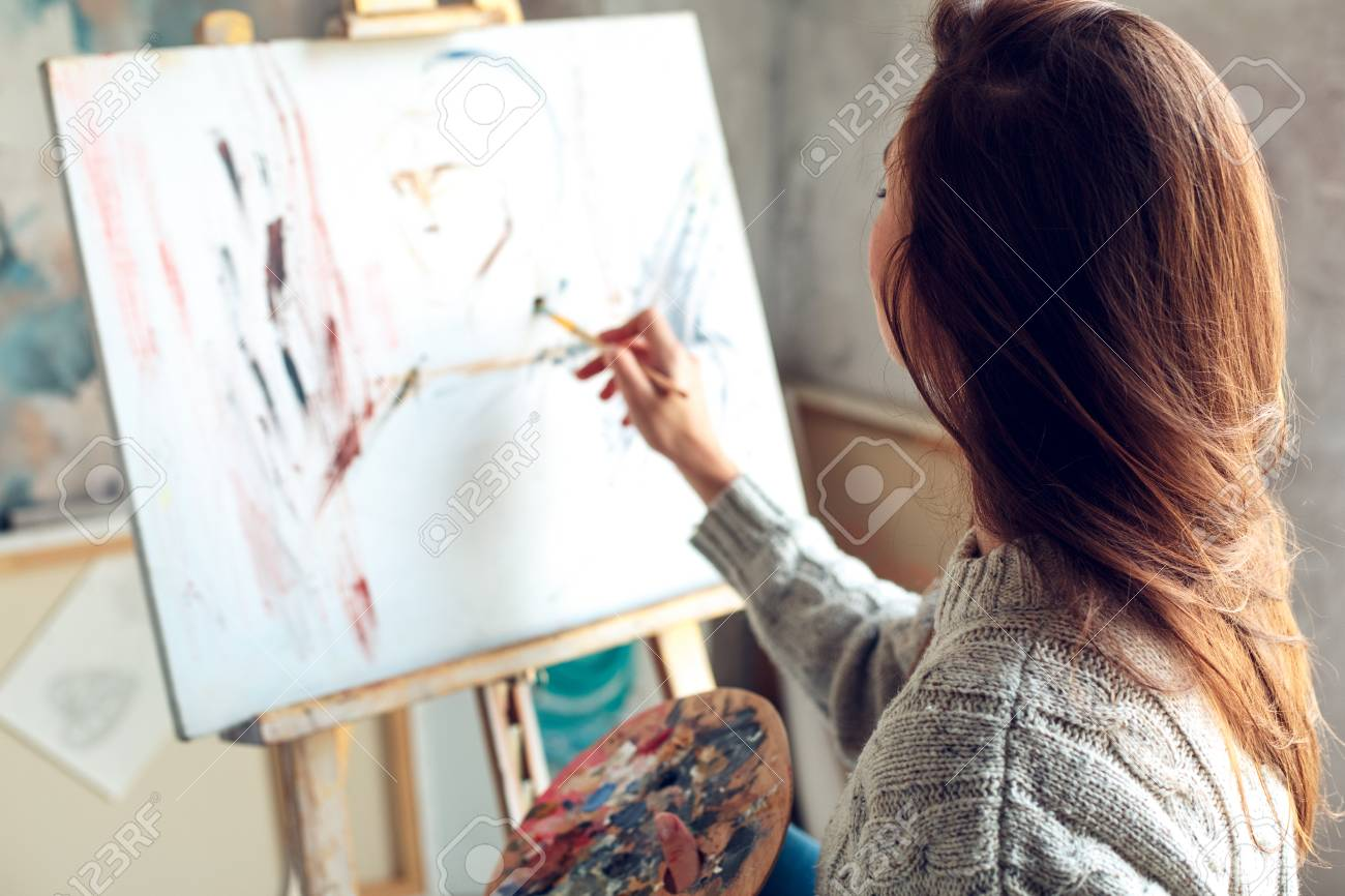 Young Woman Artist Painting At Home Creative Abstract Picture