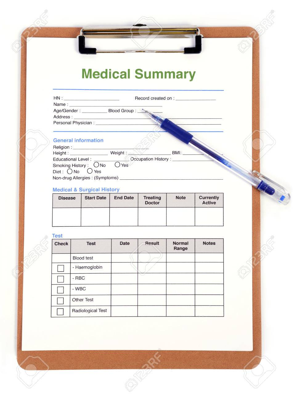 personal medical record form on clipboard stock photo picture and