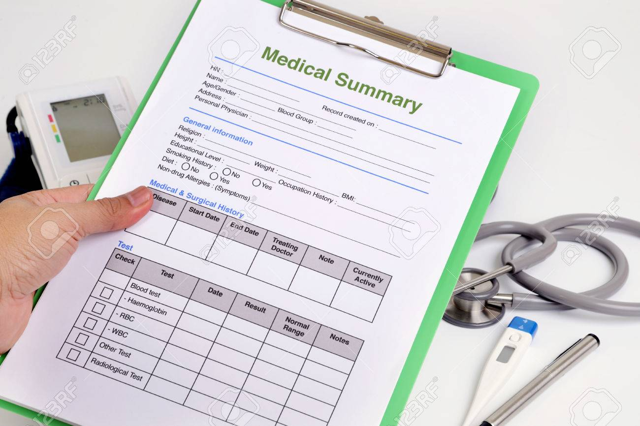 Personal Health Record Form On Clipboard In Doctor's Hand. Stock ...