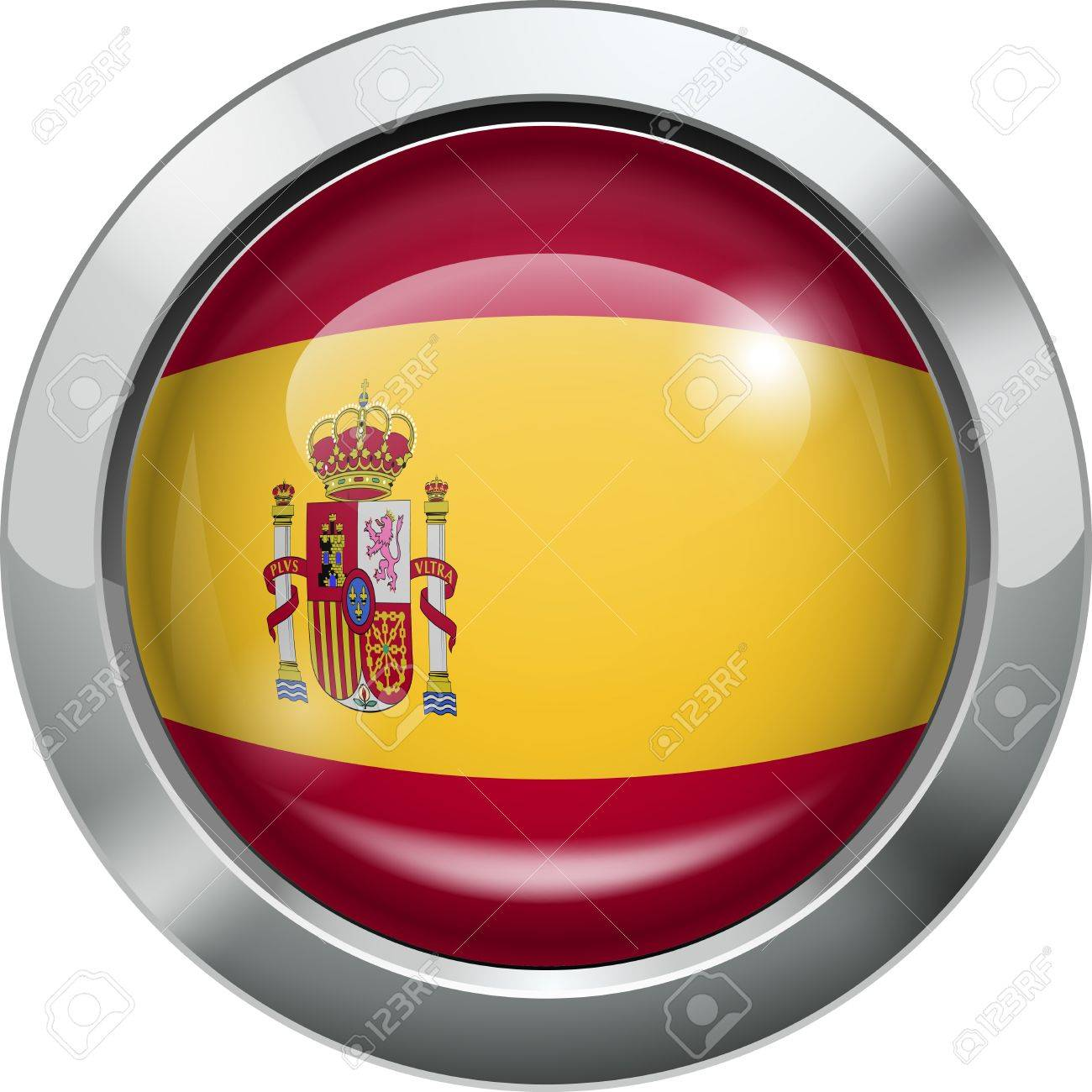 Spain flag metal button Stock Vector - 19970072