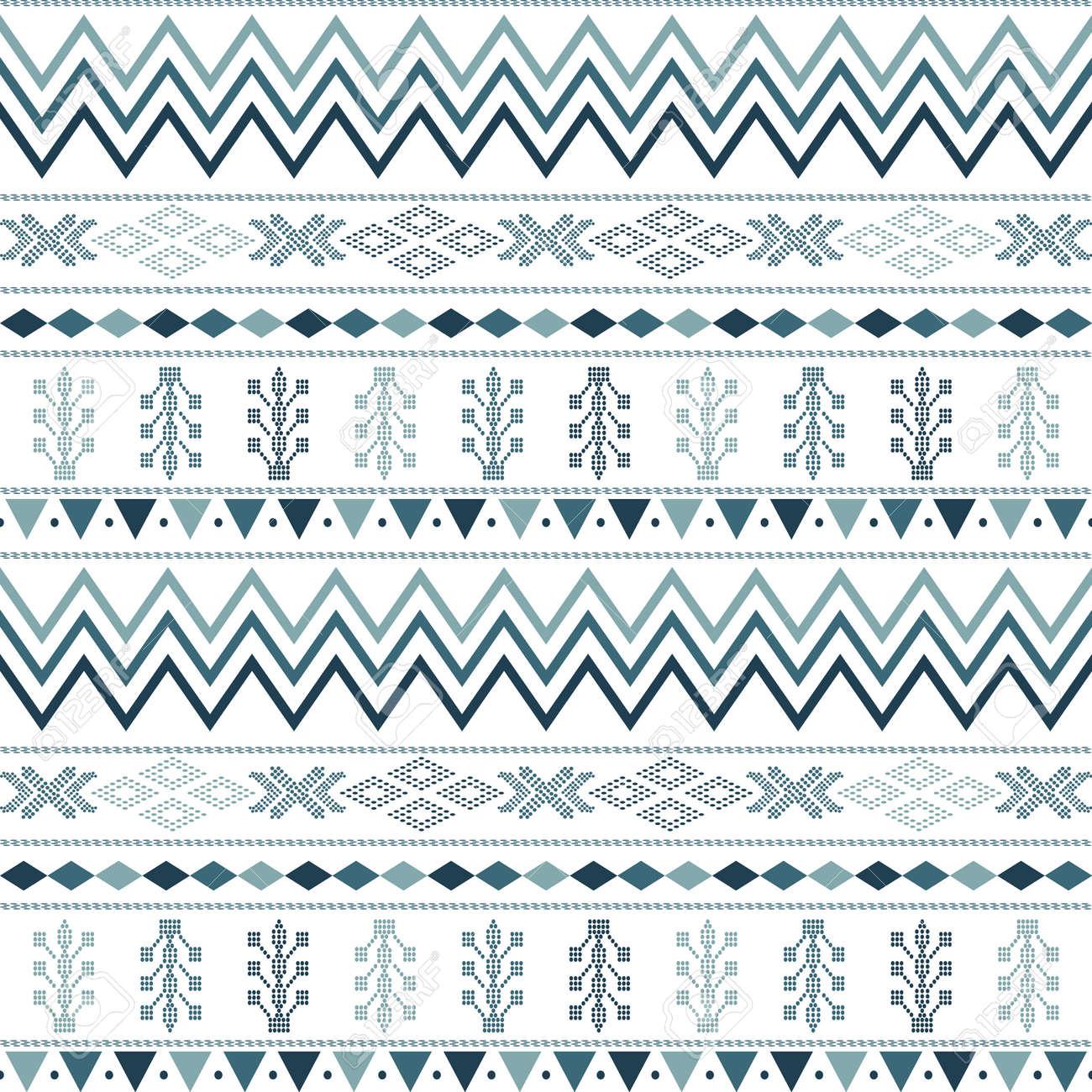 seamless pattern with motif Aztec tribal geometric shapes. seamless traditional textile bandhani sari border. creative seamless indiant bandhani textures border - 159756371