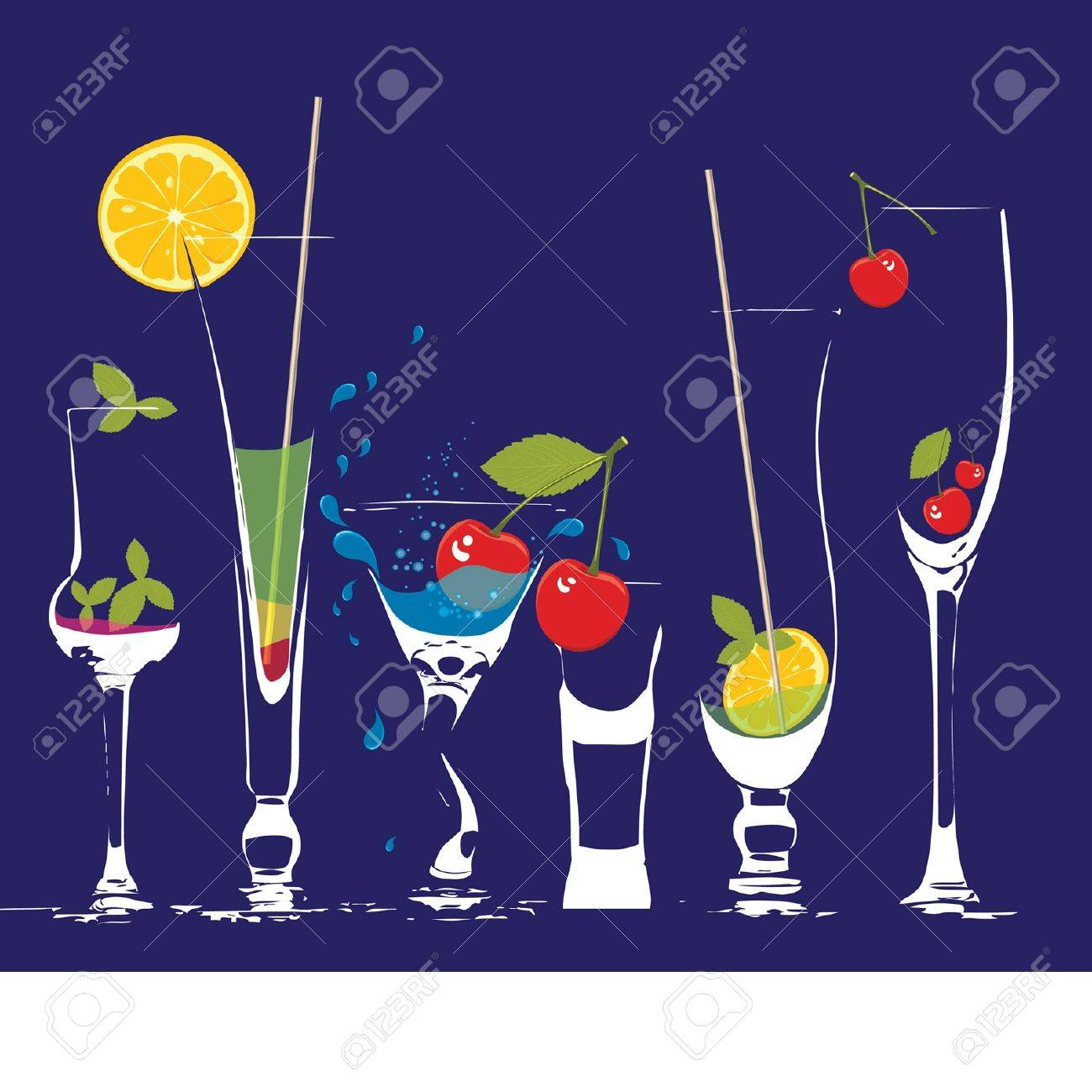 glasses of very thin glass with a drink and fruit Stock Vector - 9426661