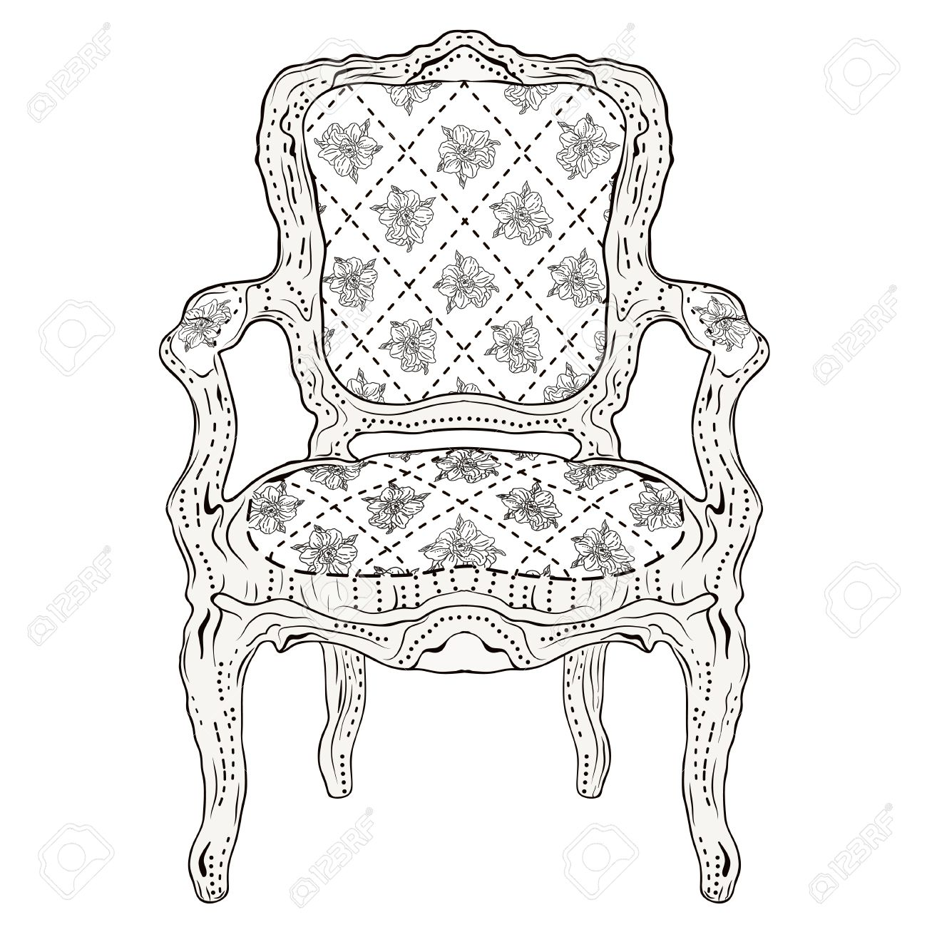 Antique chair drawing - Vector Hand Drawn Luxurious Chair Vintage Classic Style