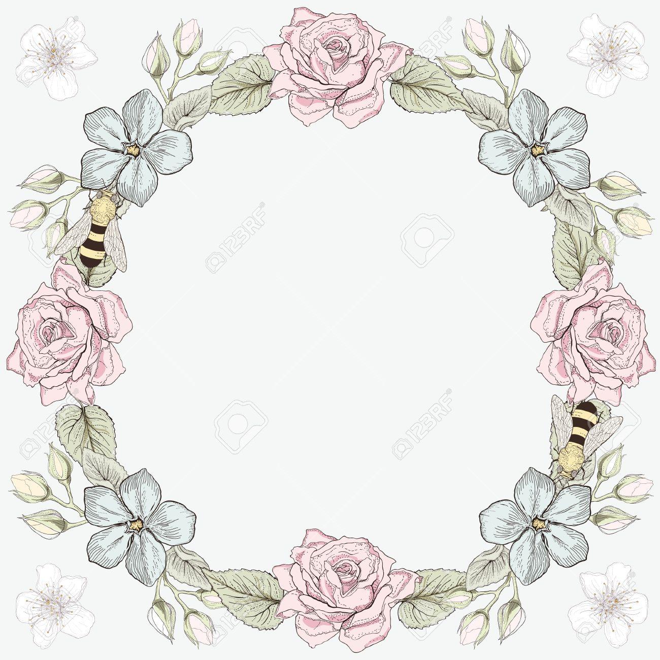 Dibujado A Mano La Tarjeta Del Marco Floral. Ilustración Colorida ...