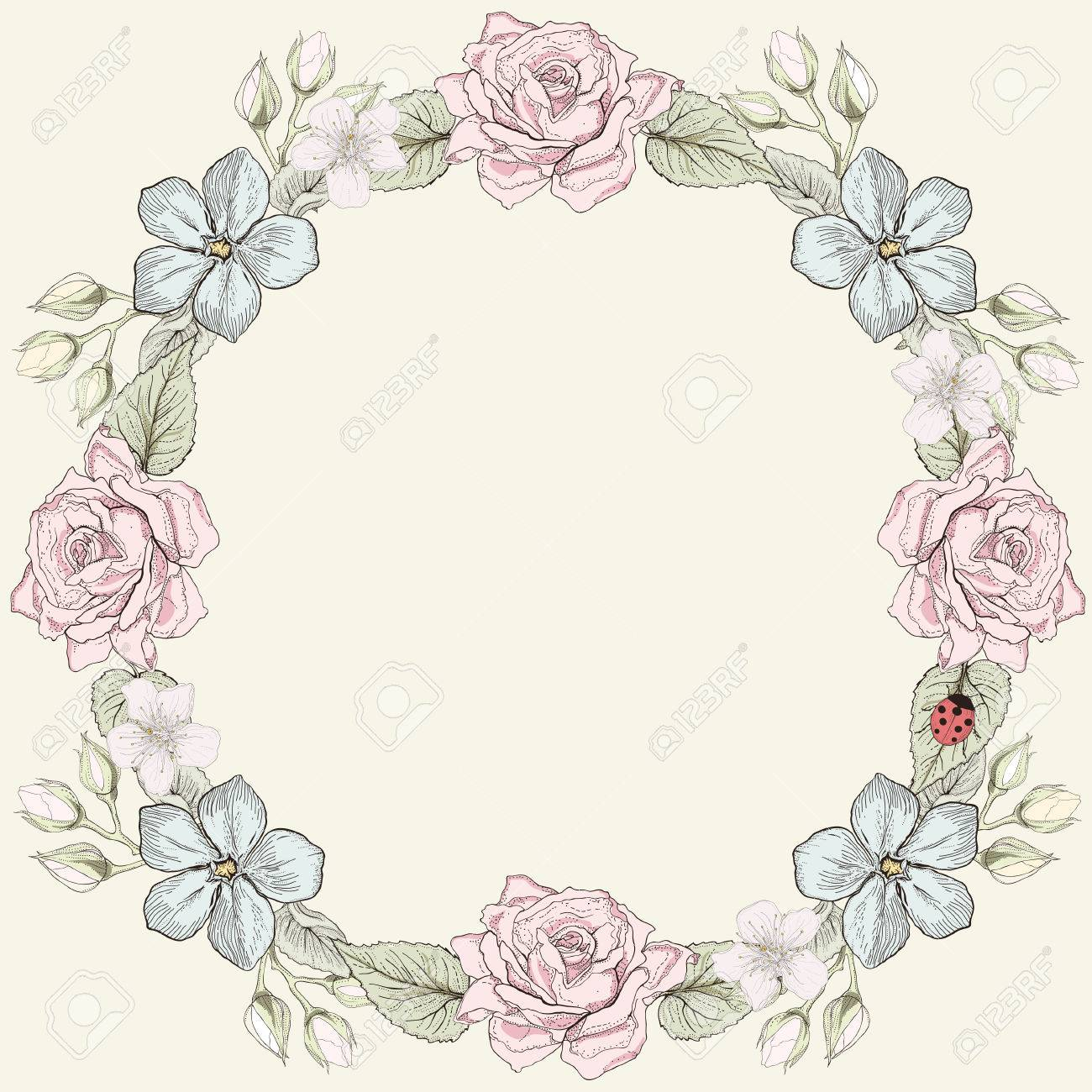 手描きの花フレーム カードカラフルなイラストビンテージ彫刻