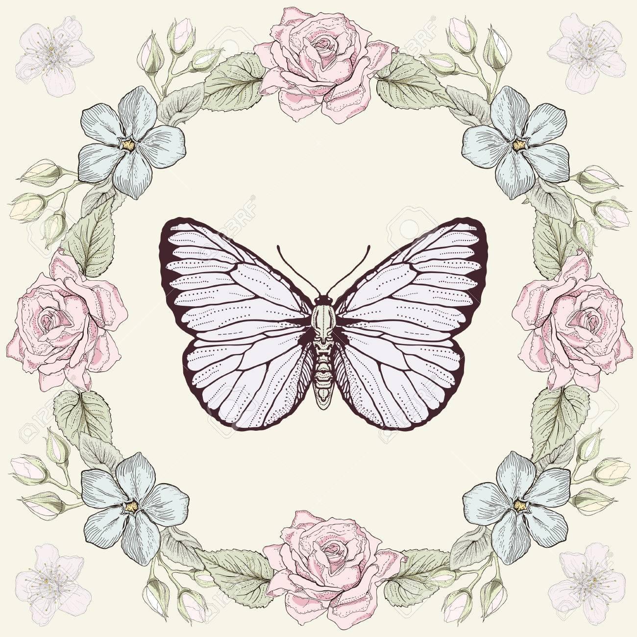 手描きの花のフレームと蝶。カラフルなイラスト。ビンテージ彫刻