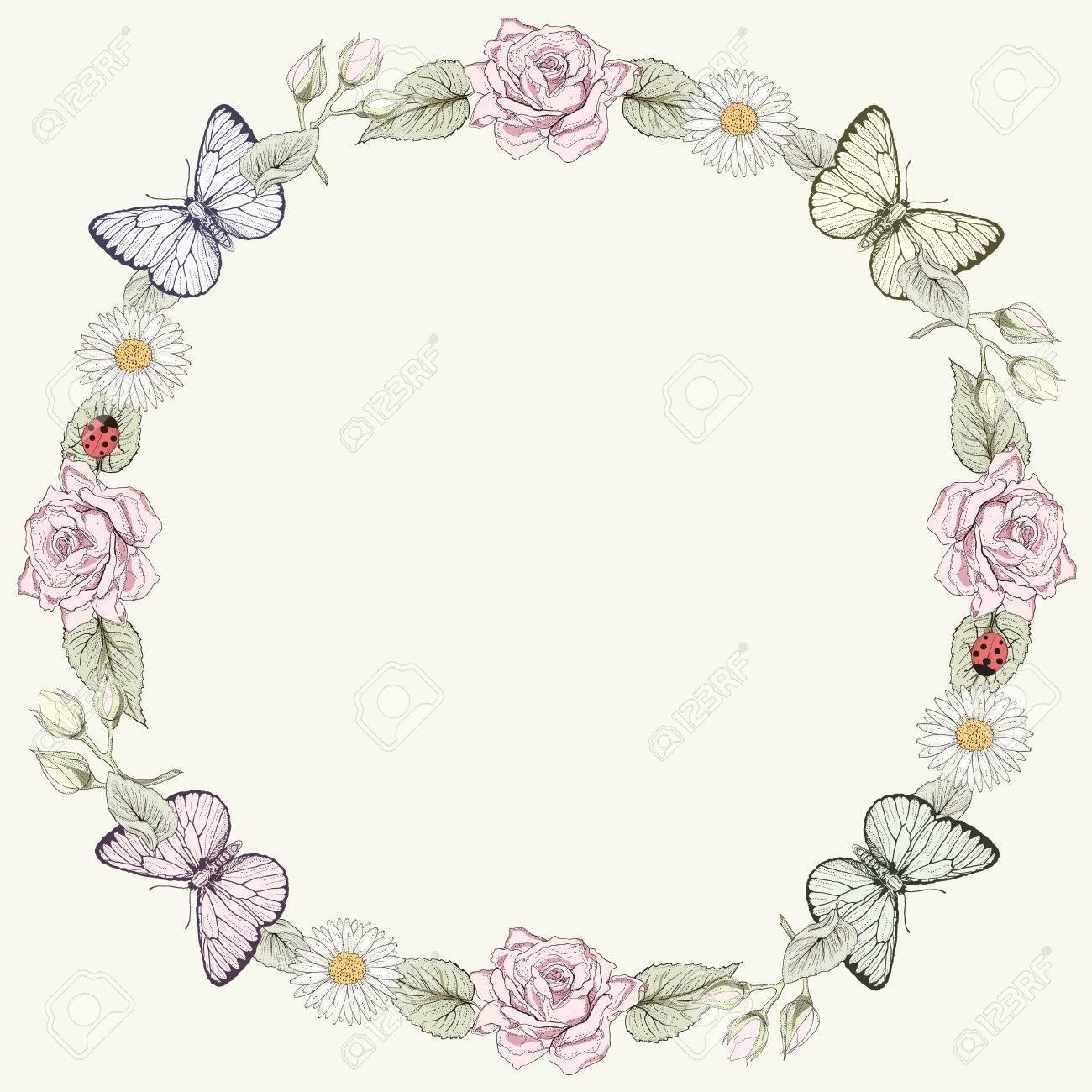 手描きの花フレーム蝶華やかなカラフルなイラストですビンテージ彫刻