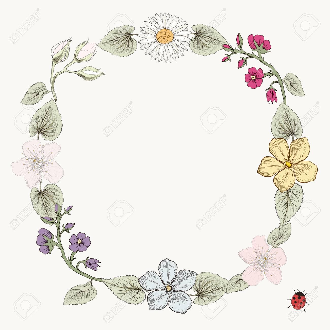 手描きの花フレーム カード。カラフルなイラスト。ビンテージ彫刻