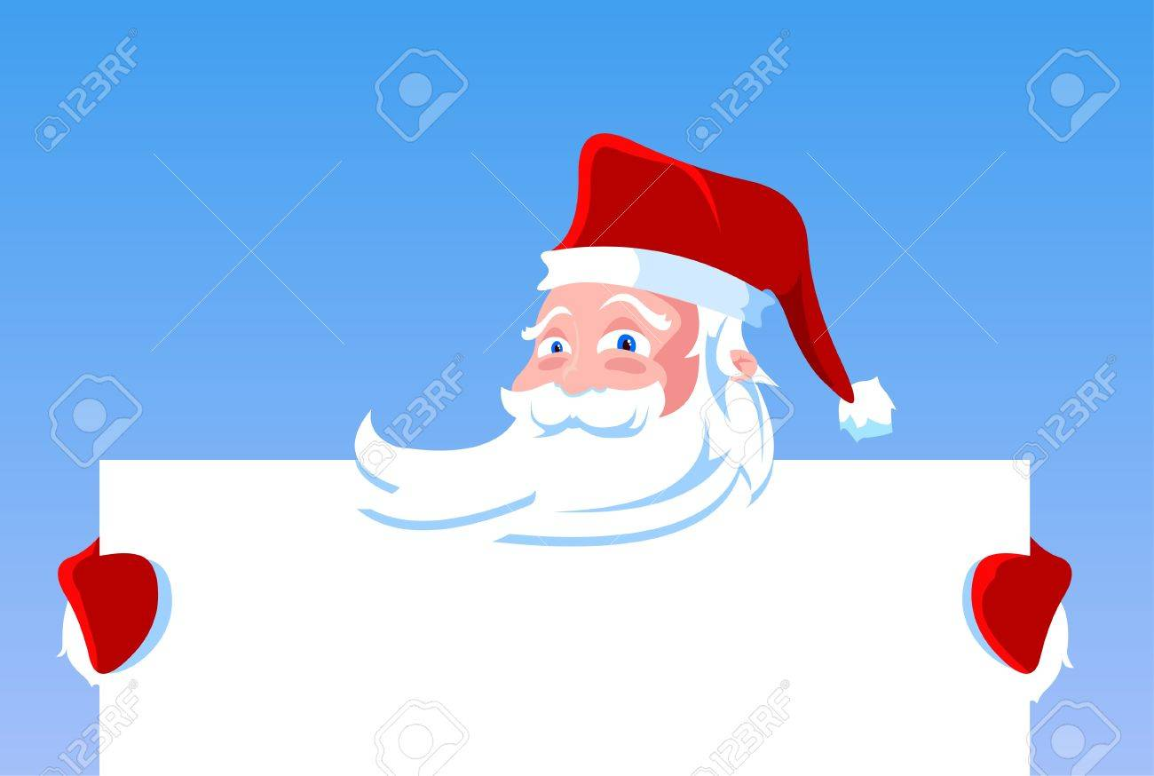 Cartoon Santa Claus holding blank banner, sign or paper. Stock Vector - 11406537