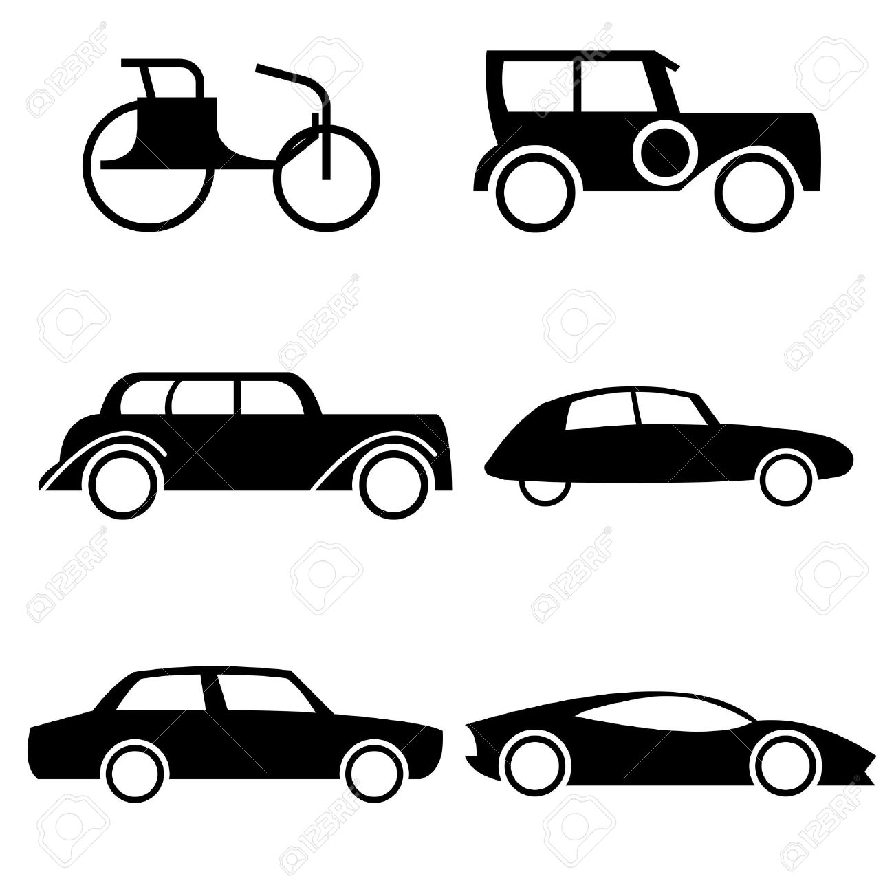 Set Of Icons Representing Evolution Of Cars Through History. Royalty ...