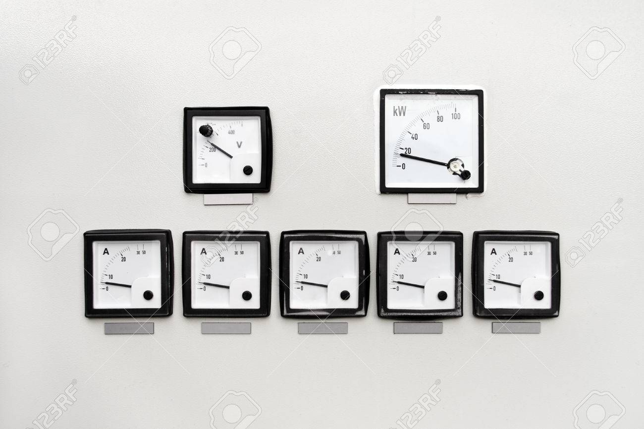 Control Panel With Analog Ammeter, Voltmeter And Watt Meter Stock ...