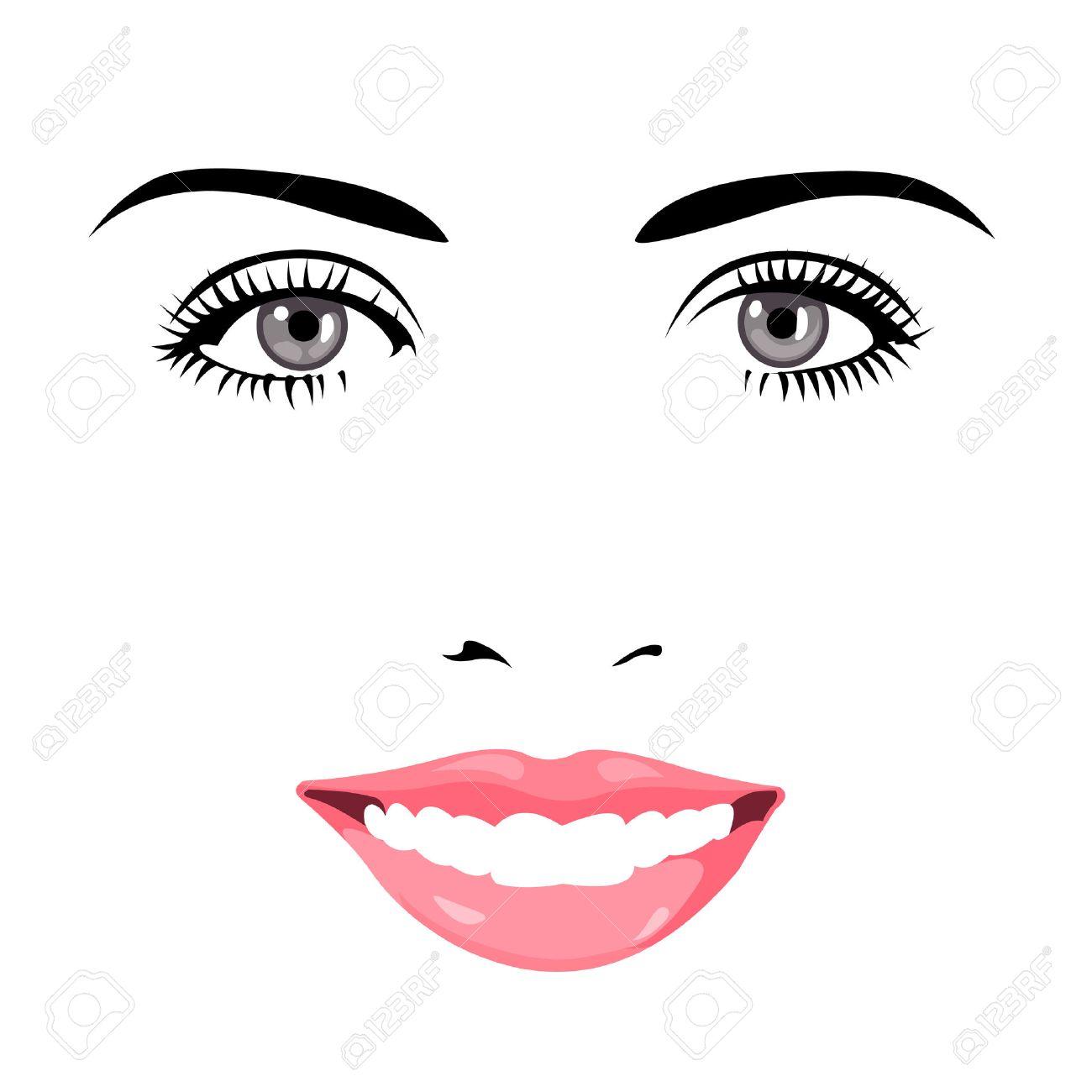 カメラに笑顔青い綺麗な目女性顔の簡単な編集可能な階層型ベクトル