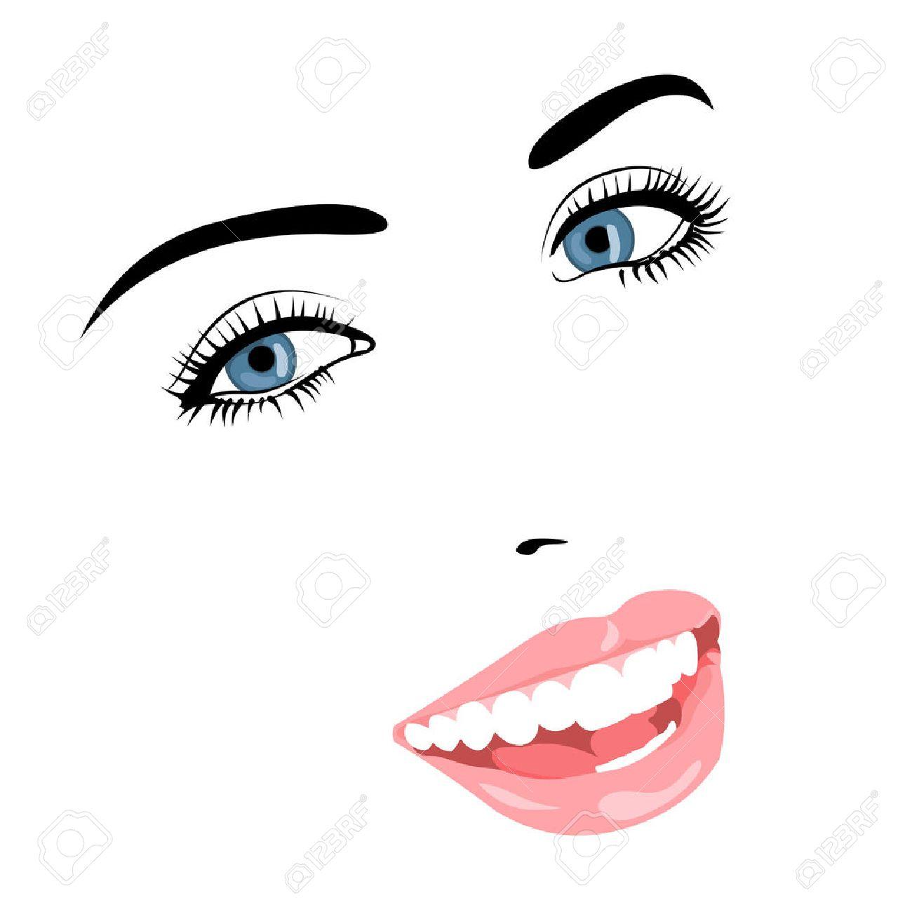 ベクトル線青い美しい笑顔の肖像画の目女性顔簡単編集可能なイラスト