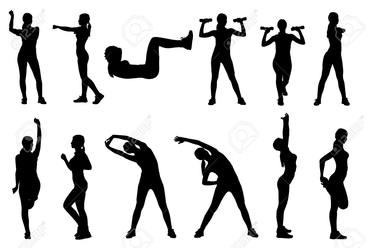Set or collection of various woman sports exercising silhouettes. Easy editable layered vector illustration. - 40099293