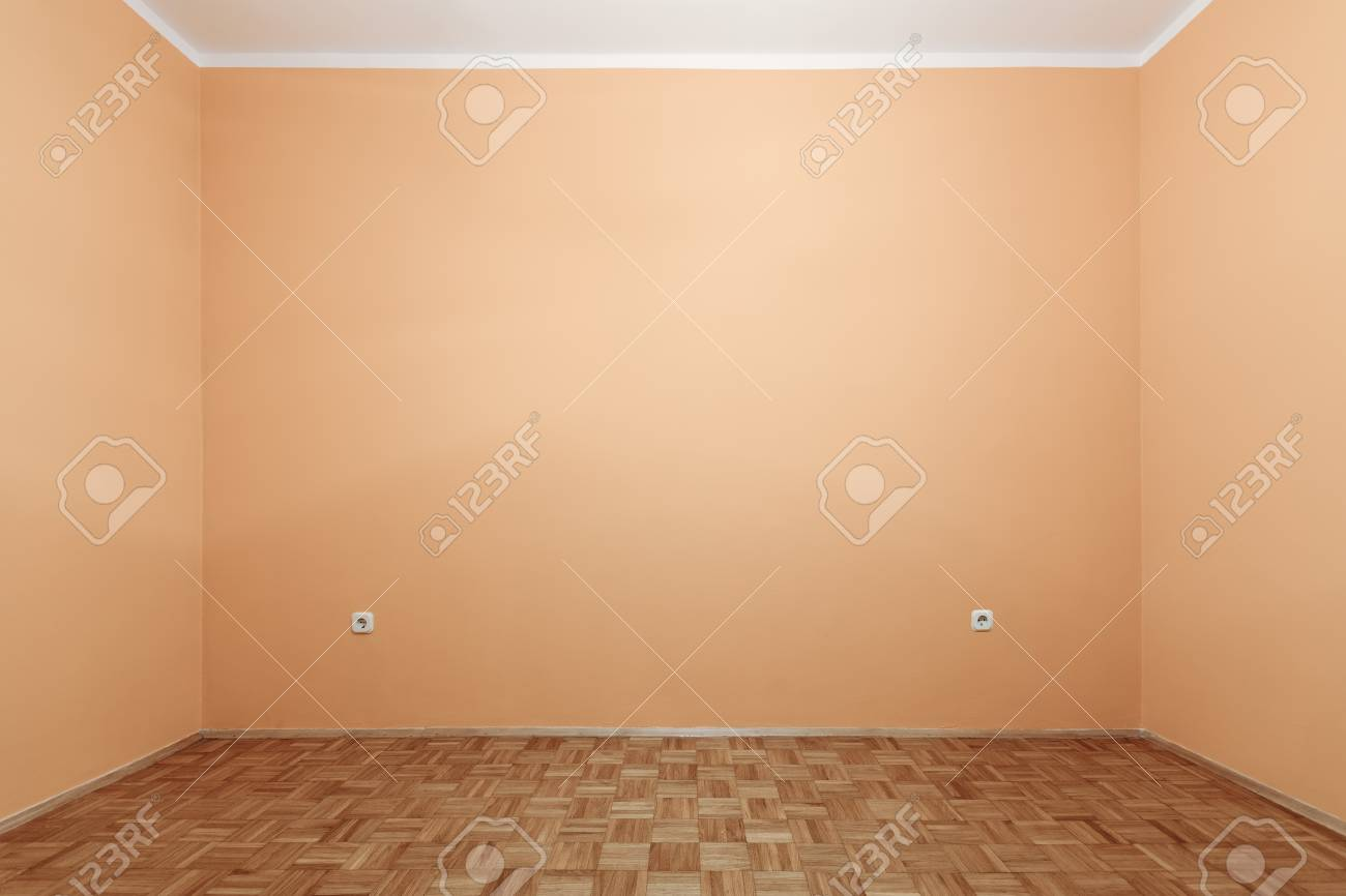 Retro Pastel Color Of Empty Room With Two Power Plugs Sockets. Stock ...