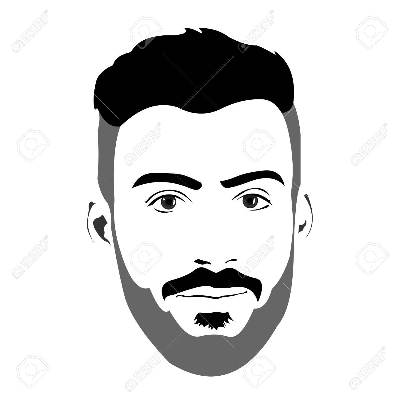 空白式カメラ目線で若いのひげを生やした男のクリップアートします簡単