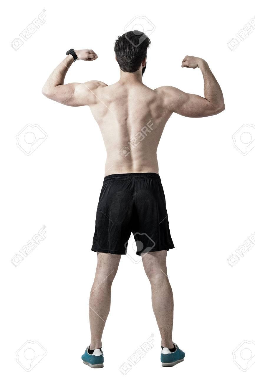 Mit Nacktem Oberkörper Athlet Biegen Rücken, Schultern Und Arme ...