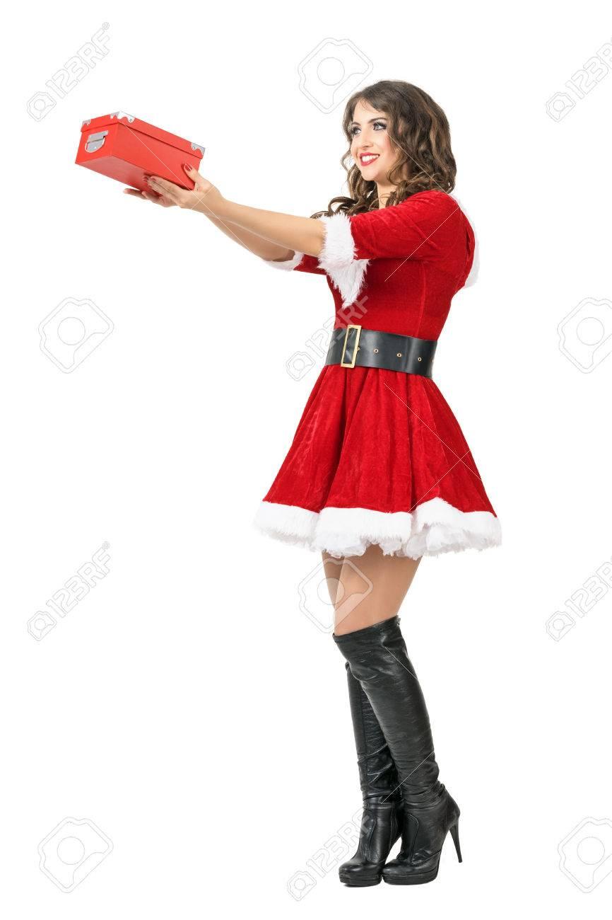 Seitenansicht Der Jungen Hübschen Weihnachtsmann-Frau, Die ...