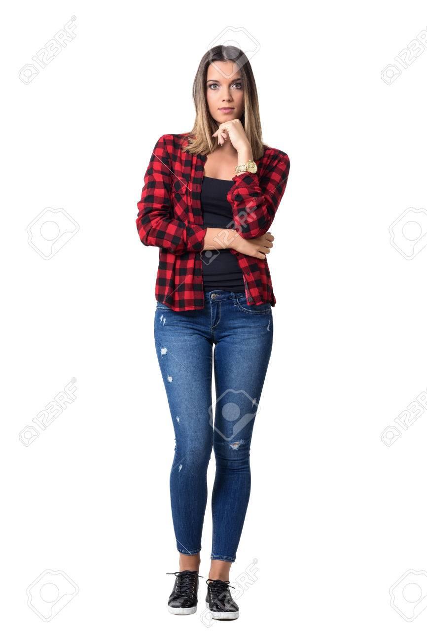 Magnífica Cuadros Barbilla Pie Roja De Ocasional Manos Retrato Las Cuerpo CámaraEncuadre A La Pensativa En Camisa Con Mujer Mirando Nw8nv0mO