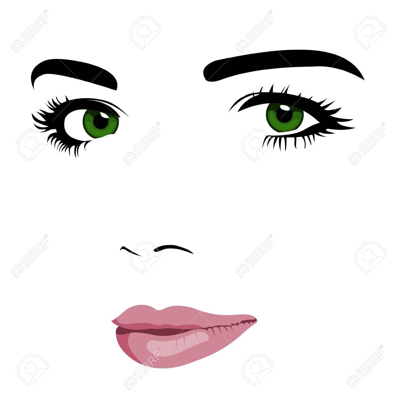 若い緑色の目女性顔のミニマリズム ポップなアート スタイル 簡単に