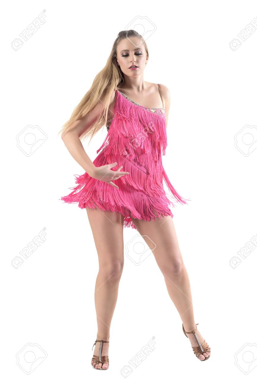 bbfda678f ... portrait isolated on white studio background. Feminine beautiful  professional latino dancer in pink dress dancing and looking down. Full  body length