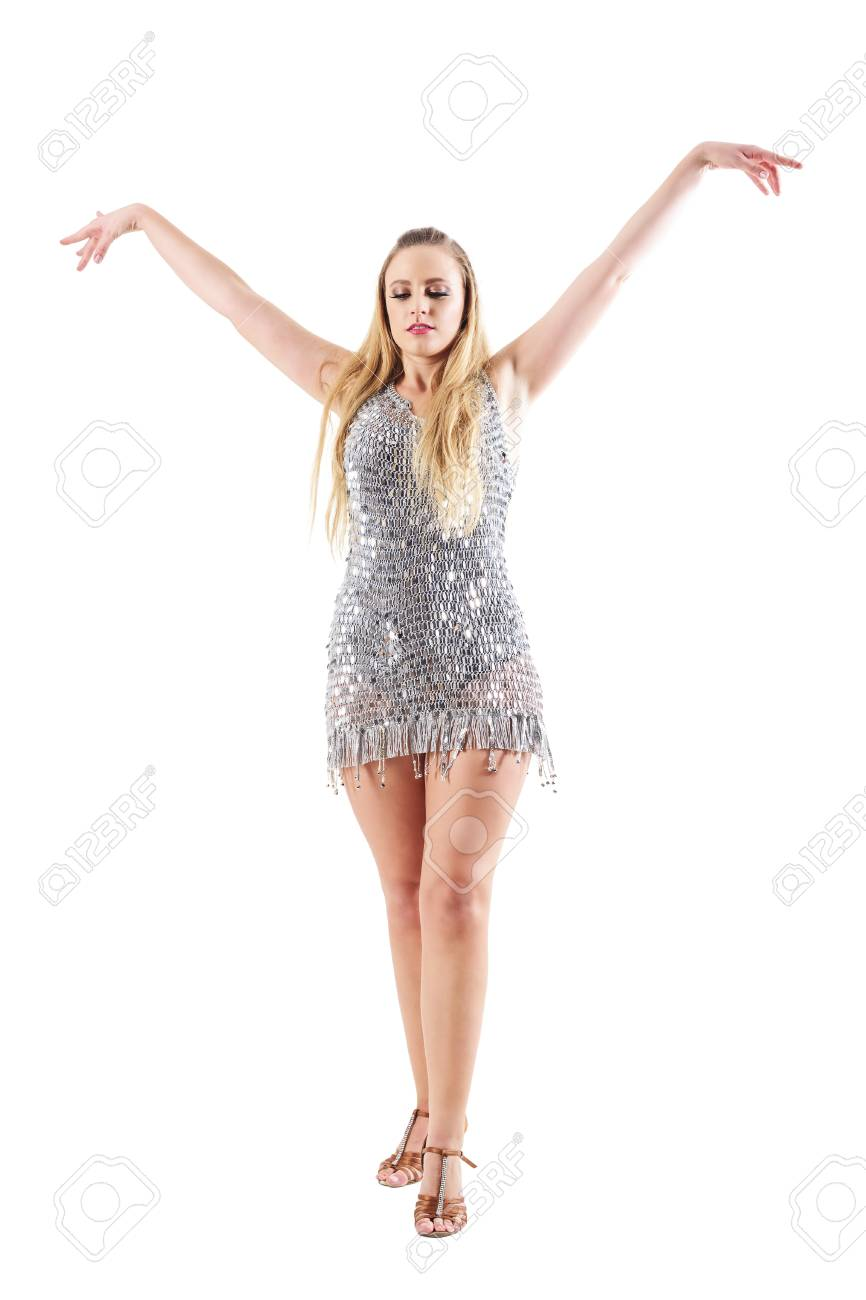 graceful blonde female dancer with raised outstretched arms