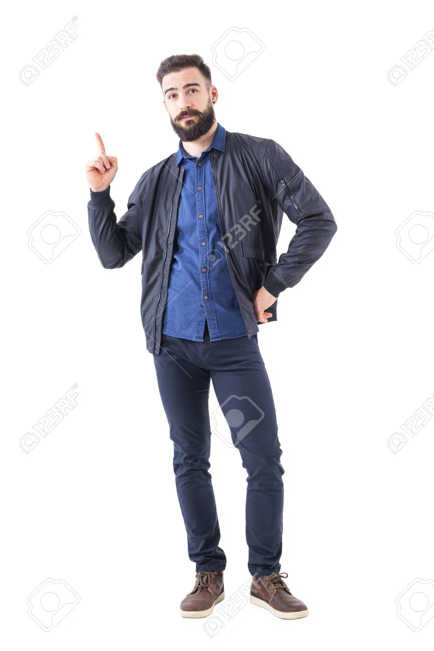 Smart Casual Bearded Hipster In Bomber Jacket Pointing Finger