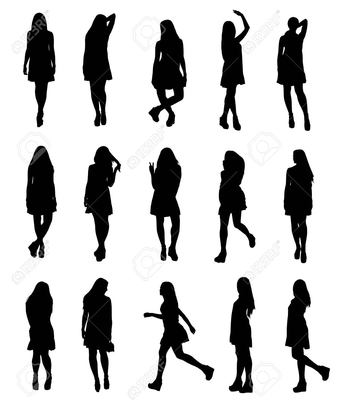 Silhouettes set of young fashion model woman in airy fluttering dress full body. Easy editable layered vector illustration. - 151346279