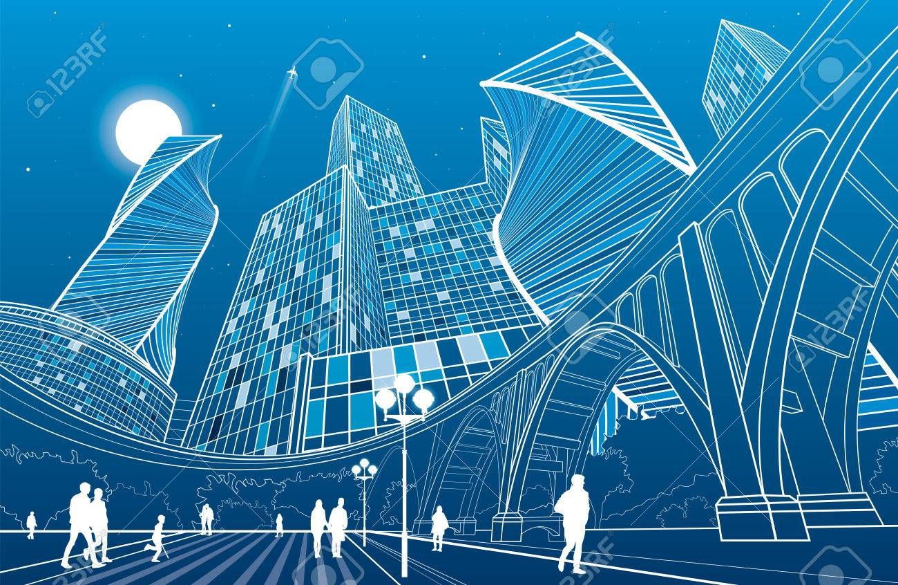 Big bridge, night city on background, people walking to square, industrial and infrastructure illustration, white lines landscape, urban scene, neon town, vector design art - 64006715