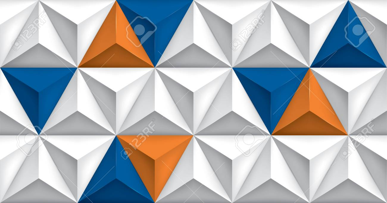 Vector Triangles Retro Background Blue And Orange Color Inserts