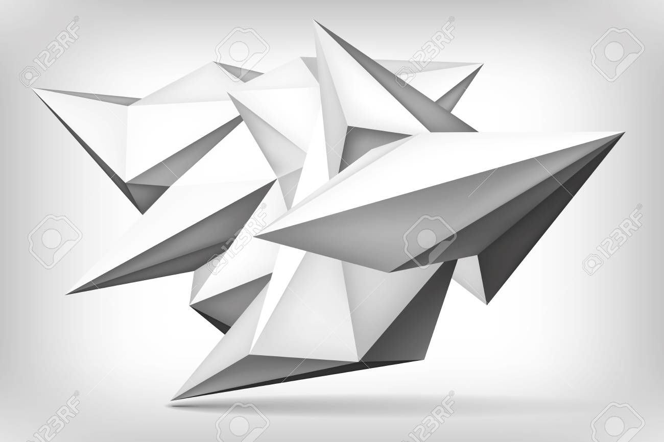 Shape And Form In Design : Volume geometric shape d crystal blue background triangles