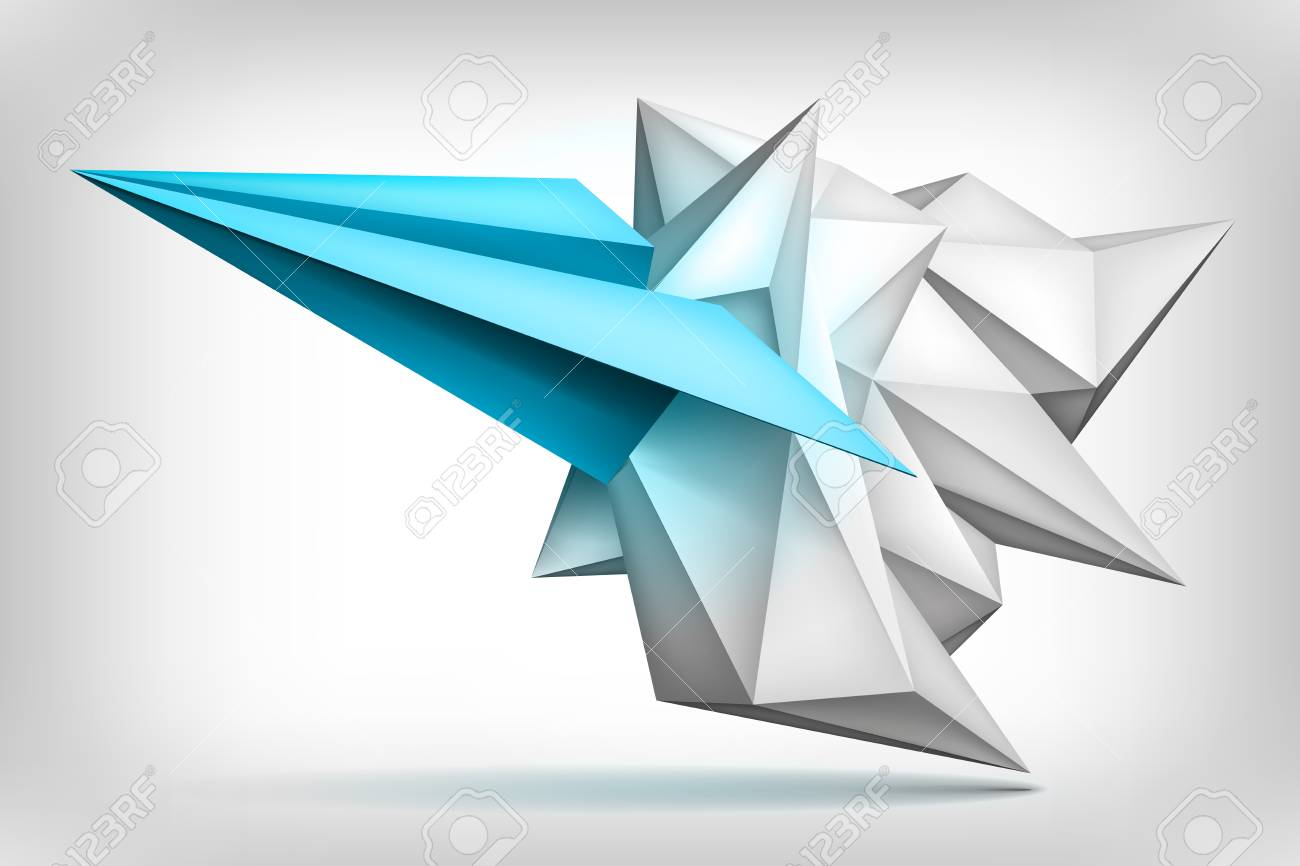 volume geometric shape, blue paper airplane inside, 3d crystal