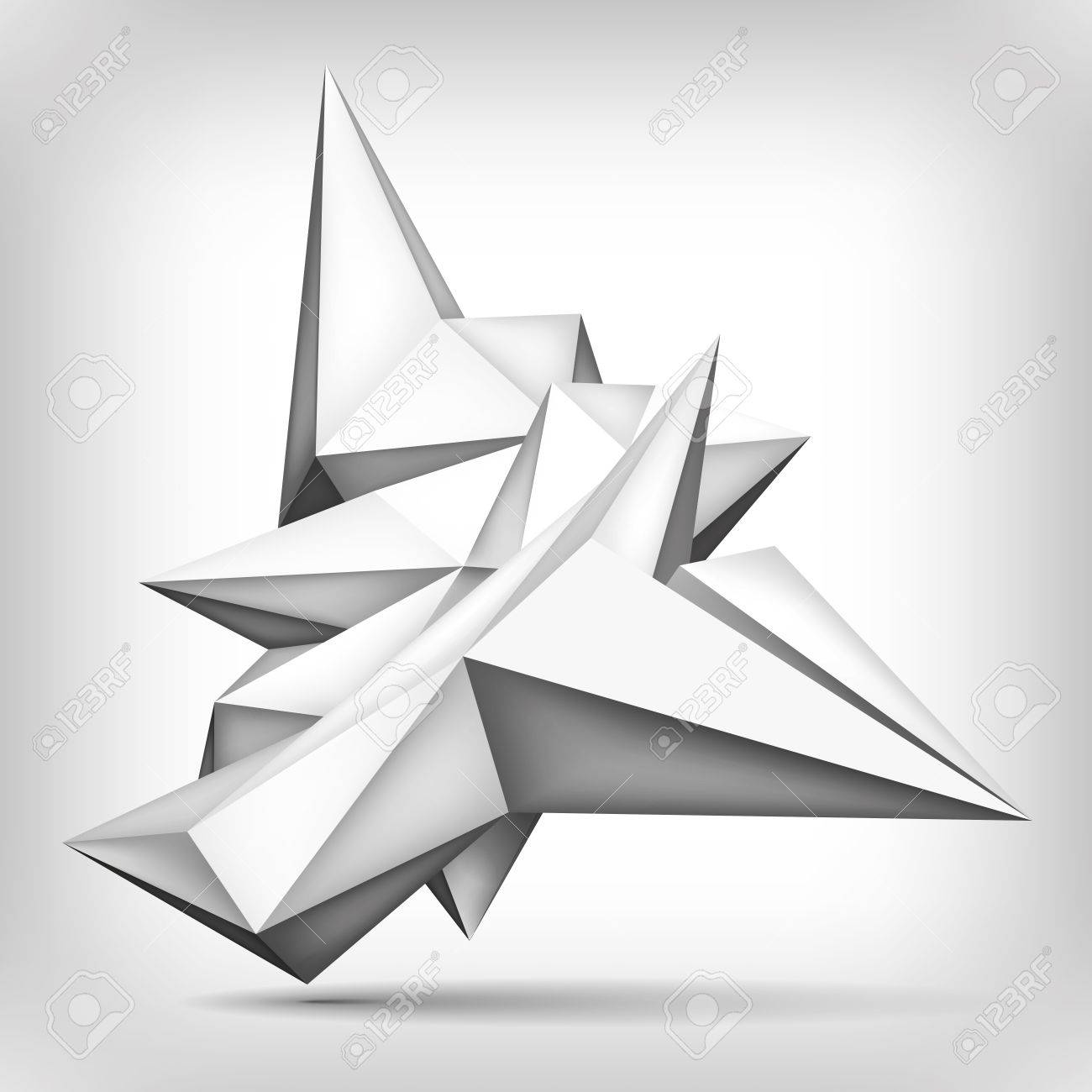 volume geometric shape, paper airplane, 3d crystal, creative