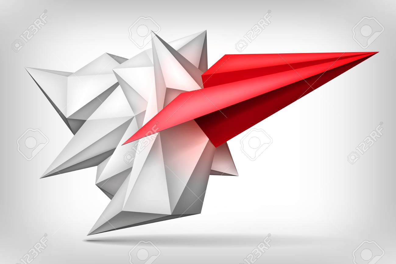 volume geometric shape, red paper airplane inside, 3d origami