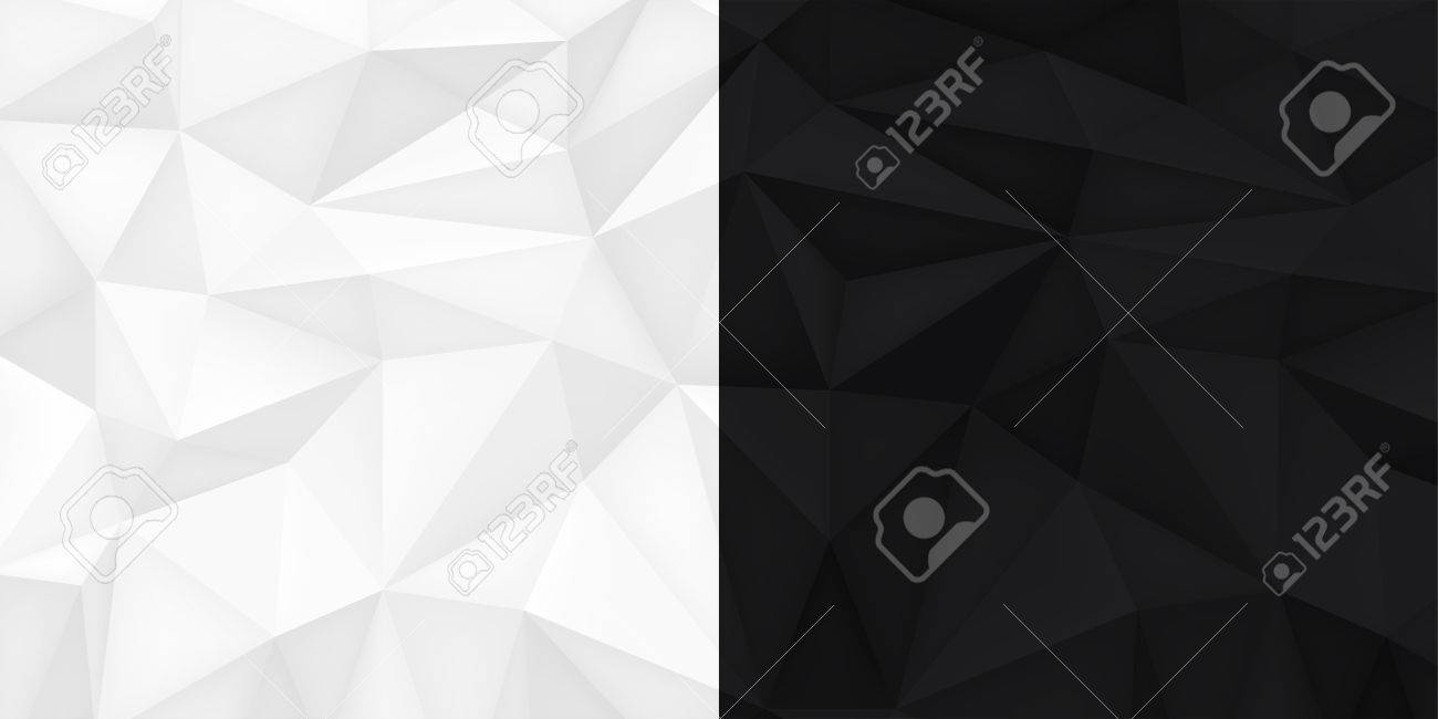 Low Polygon Shapes Black And White Background Light And Dark