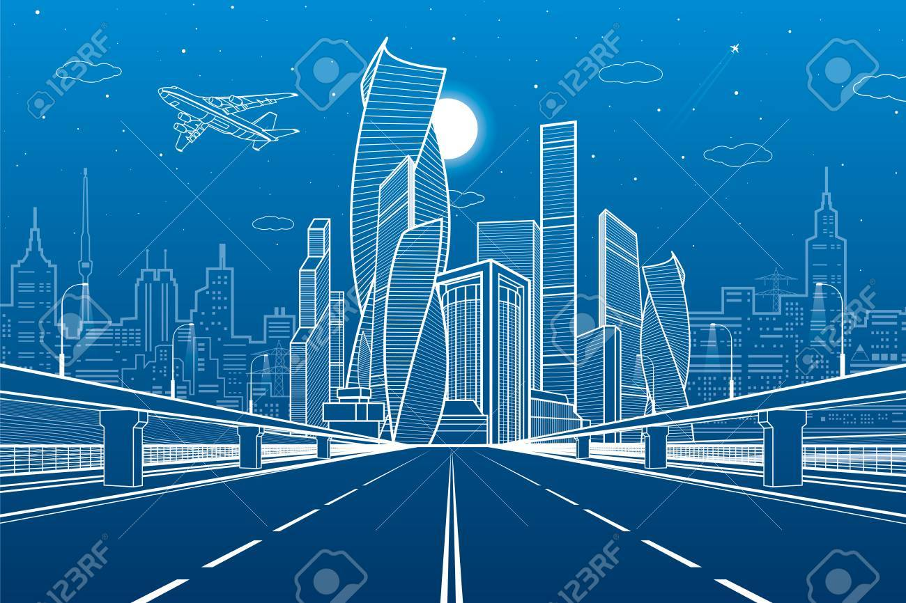 Wide highway urban infrastructure illustration futuristic city urban infrastructure illustration futuristic city on background modern architecture airplane fly white lines on blue background night scene malvernweather Choice Image