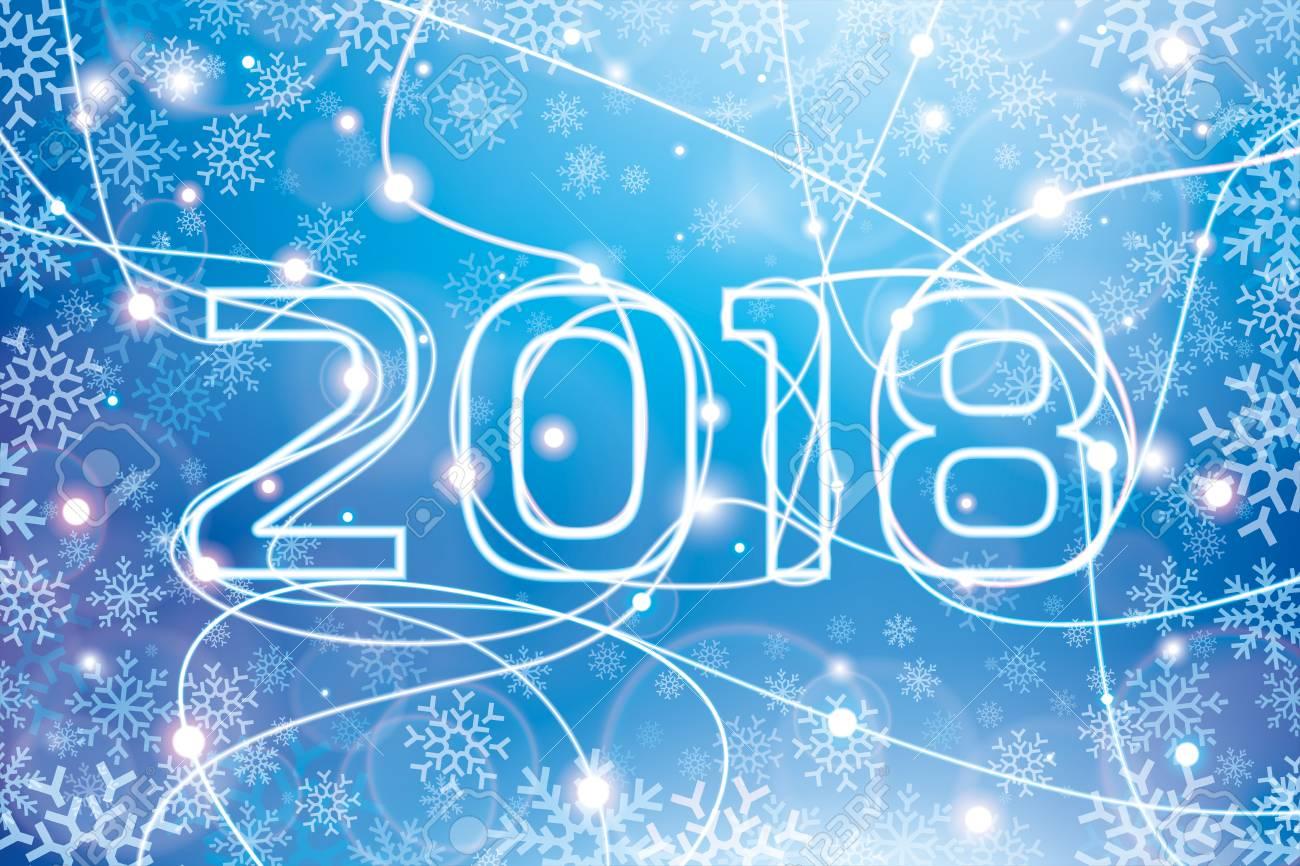 Feliz Navidad Y Próspero Año Nuevo 2018 Líneas De Neón Que Brillan Intensamente En Un Fondo Azul Tarjeta Del Día De Fiesta Para Su Proyecto De