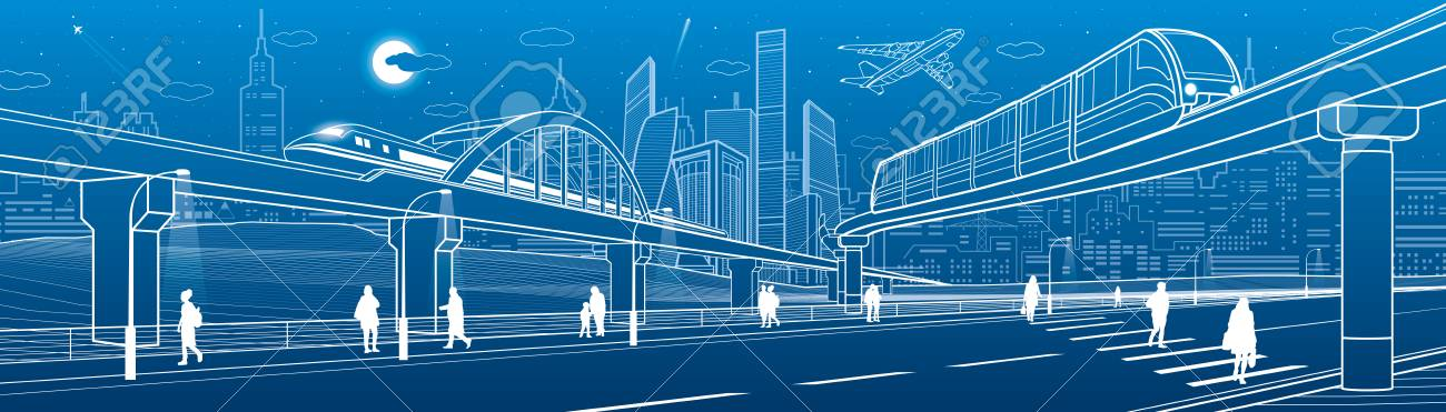 Monorail bridge across the highway. Railroad overpass. Train move. Urban infrastructure, modern city, industrial architecture. People walking. White lines illustration, vector design art - 92346450