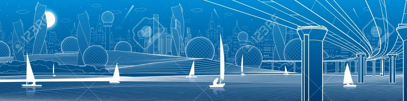 City infrastructure panoramic illustration. Big bridge across river. Sailing yachts on water. White lines on blue background. Vector design art - 104879524